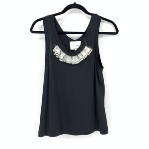 3.1 Phillip Lim Feather Embellished Tank Top Black
